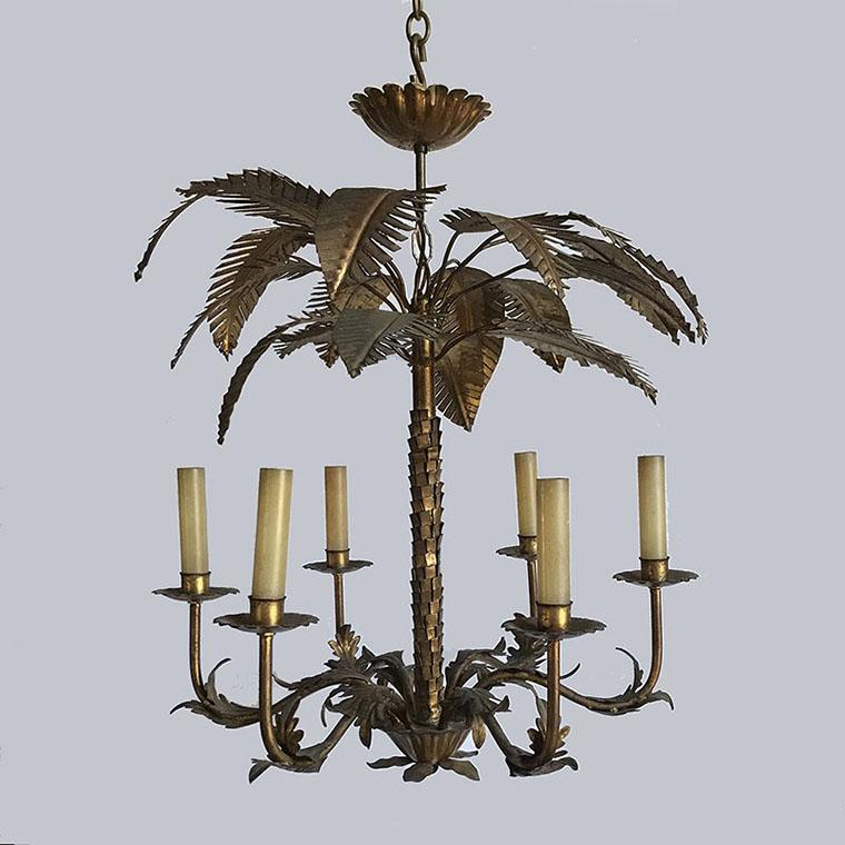 Gilt Palm Tree Chandelier